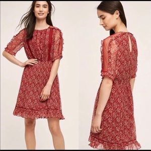 Anthropologie Floreat red ruffle dress